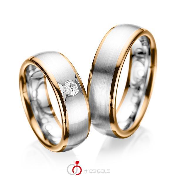 Paar bicolor Trauringe/Eheringe in Roségold 585 Weißgold 585 mit zus. 0,15 ct. Brillant tw, si von acredo - A-1065-6