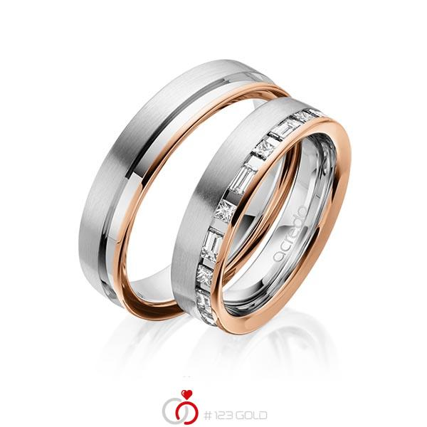 Paar bicolor Trauringe/Eheringe in Rotgold 585 Graugold 585 mit zus. 0,9 ct. Prinzess-Diamant & Baguette-Diamant tw, si tw, vs von acredo - A-1628-11