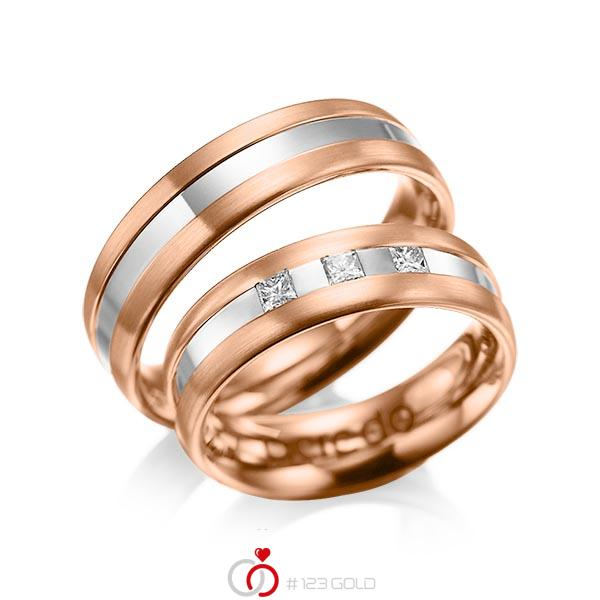 Paar bicolor Trauringe/Eheringe in Rotgold 585 Weißgold 585 mit zus. 0,18 ct. Prinzess-Diamant tw, si von acredo - A-1021-12