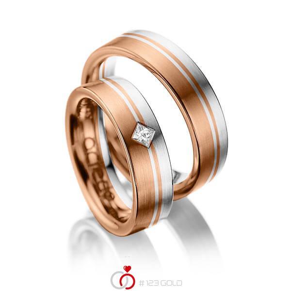 Paar bicolor Trauringe/Eheringe in Rotgold 585 Weißgold 585 mit zus. 0,1 ct. Prinzess-Diamant tw, si von acredo - A-1020-12