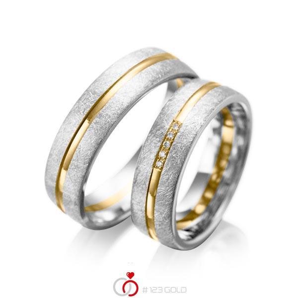 Paar bicolor Trauringe/Eheringe in Weißgold 585 Gelbgold 585 mit zus. 0,025 ct. Brillant tw, si von acredo - A-1007-2