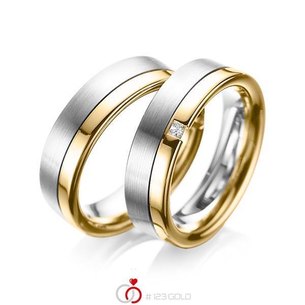 Paar bicolor Trauringe/Eheringe in Weißgold 585 Gelbgold 585 mit zus. 0,04 ct. Prinzess-Diamant tw, si von acredo - A-1064-4