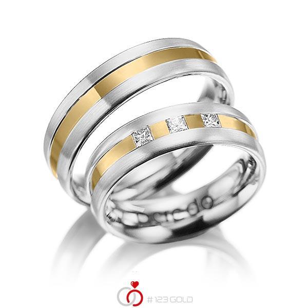 Paar bicolor Trauringe/Eheringe in Weißgold 585 Gelbgold 585 mit zus. 0,18 ct. Prinzess-Diamant tw, si von acredo - A-1021-13