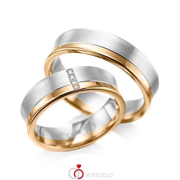 Paar bicolor Trauringe/Eheringe in Weißgold 585 Roségold 585 mit zus. 0,02 ct. Brillant tw, si von acredo - A-1053-4