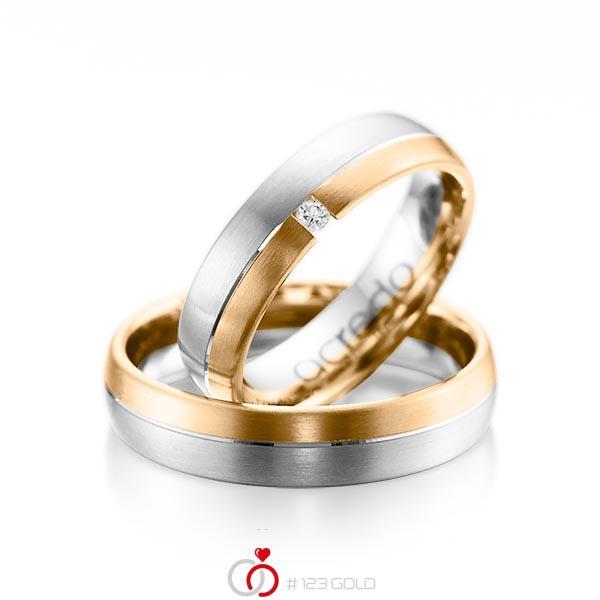 Paar bicolor Trauringe/Eheringe in Weißgold 585 Roségold 585 mit zus. 0,03 ct. Brillant tw, si von acredo - A-1070-3