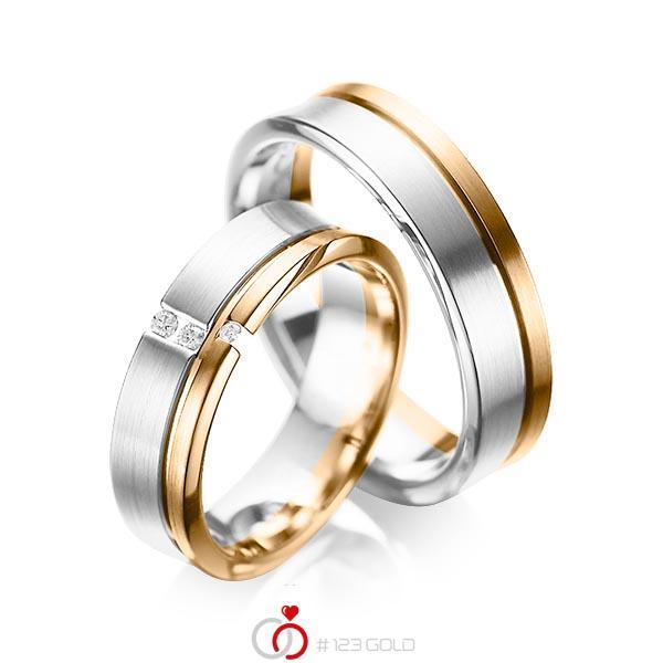 Paar bicolor Trauringe/Eheringe in Weißgold 585 Roségold 585 mit zus. 0,05 ct. Brillant tw, si von acredo - A-1088-8