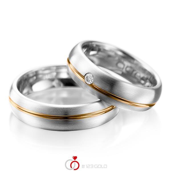 Paar bicolor Trauringe/Eheringe in Weißgold 585 Roségold 585 mit zus. 0,06 ct. Brillant tw, si von acredo - A-1003-2