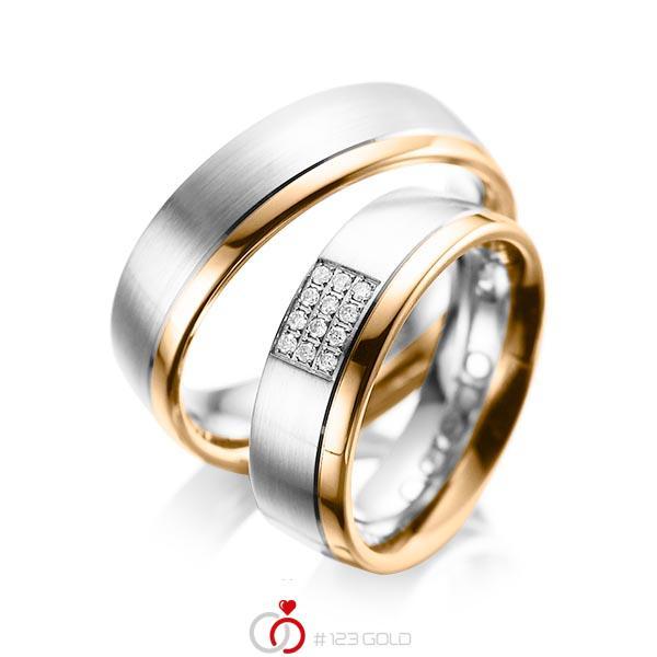 Paar bicolor Trauringe/Eheringe in Weißgold 585 Roségold 585 mit zus. 0,096 ct. Brillant tw, si von acredo - A-1043-4