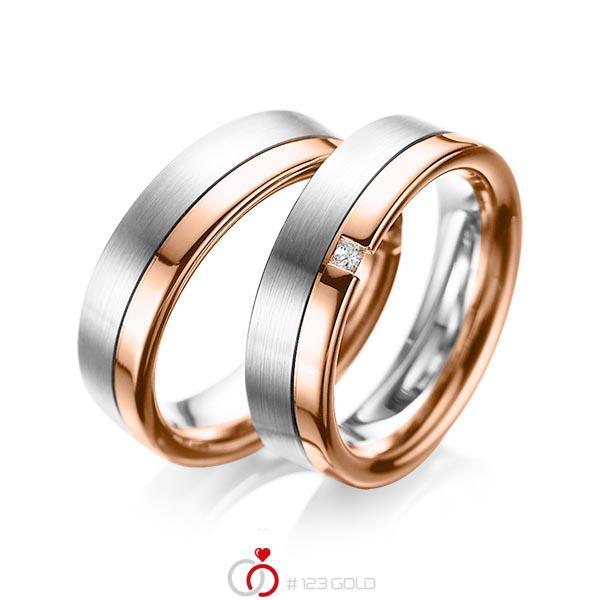 Paar bicolor Trauringe/Eheringe in Weissgold 585 Rotgold 585 mit zus. 0,04 ct. Prinzess-Diamant tw, si von acredo - A-1064-1