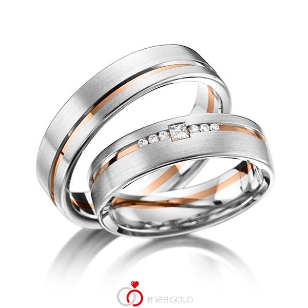 Paar bicolor Trauringe/Eheringe in Weißgold 585 Rotgold 585 mit zus. 0,098 ct. Brillant & Prinzess-Diamant tw, si von acredo - A-6013-1