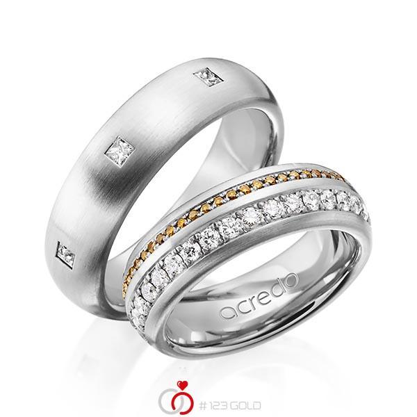 Paar klassische Memoire-Trauringe/Eheringe in aussen Graugold 585 , innen Graugold 585 vollausgefasst mit zus. 1,59 ct. Brillant & Prinzess-Diamant cognac r, if von acredo - A-1254-11
