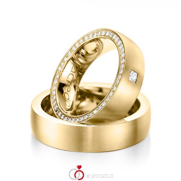 Paar klassische Memoire-Trauringe/Eheringe in Gelbgold 585 vollausgefasst mit zus. 0,355 ct. Prinzess-Diamant & Brillant tw, vs tw, si von acredo - A-1071-3