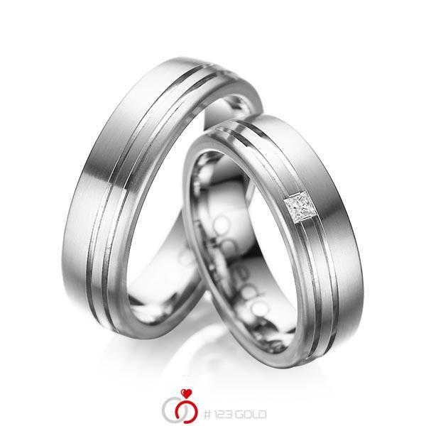 Paar klassische Trauringe/Eheringe in aussen Graugold 585 , innen Graugold 585 mit zus. 0,05 ct. Prinzess-Diamant tw, si von acredo - A-1040-2