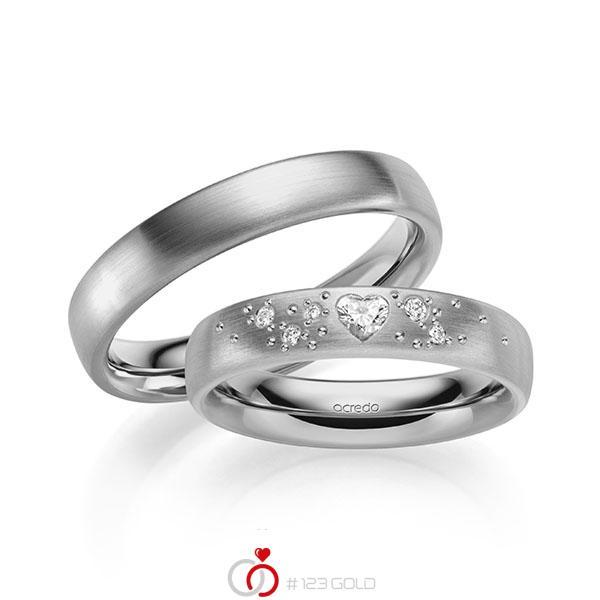 Paar klassische Trauringe/Eheringe in außen Graugold 585 , innen Graugold 585 mit zus. 0,146 ct. Herz-Diamant & Brillant tw, vs tw, si von acredo - A-2131-4