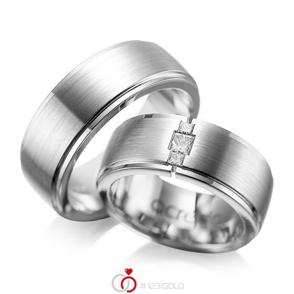 Paar klassische Trauringe/Eheringe in aussen Graugold 585 , innen Graugold 585 mit zus. 0,21 ct. Prinzess-Diamant tw, si von acredo - A-1087-11