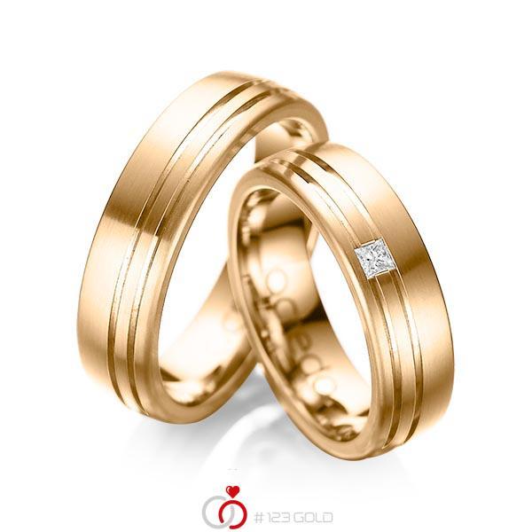 Paar klassische Trauringe/Eheringe in aussen Roségold 585 , innen Roségold 585 mit zus. 0,05 ct. Prinzess-Diamant tw, si von acredo - A-1040-4