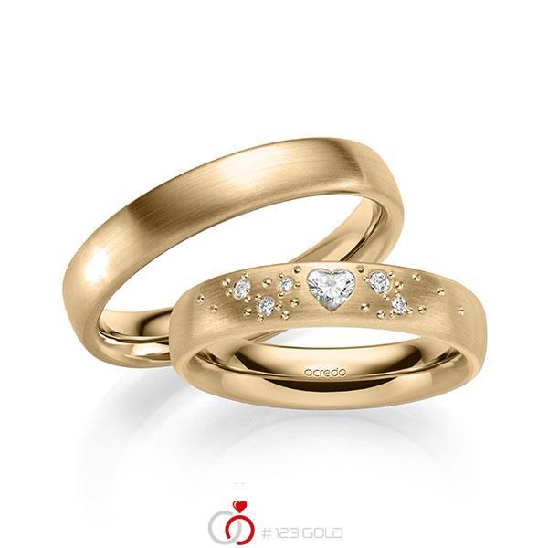 Paar klassische Trauringe/Eheringe in außen Roségold 585 , innen Roségold 585 mit zus. 0,146 ct. Herz-Diamant & Brillant tw, vs tw, si von acredo - A-2131-6