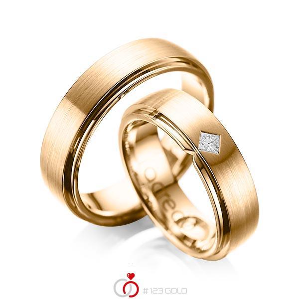 Paar klassische Trauringe/Eheringe in außen Roségold 585 , innen Roségold 585 mit zus. 0,1 ct. Prinzess-Diamant tw, si von acredo - A-1061-9