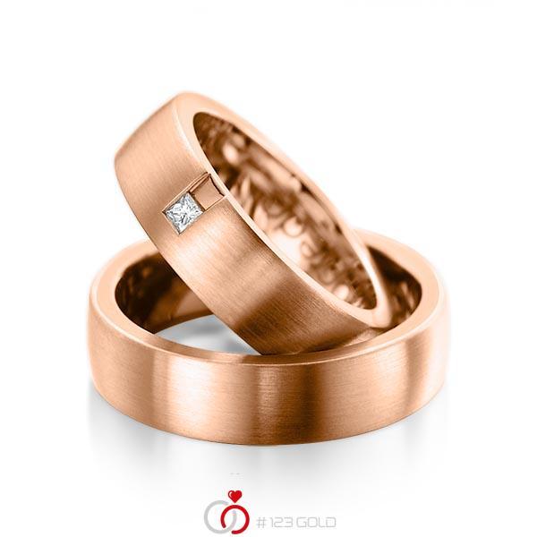 Paar klassische Trauringe/Eheringe in außen Rotgold 585 , innen Rotgold 585 mit zus. 0,06 ct. Prinzess-Diamant tw, si von acredo - A-1091-6