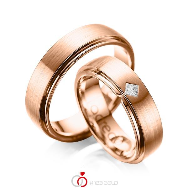 Paar klassische Trauringe/Eheringe in außen Rotgold 585 , innen Rotgold 585 mit zus. 0,1 ct. Prinzess-Diamant tw, si von acredo - A-1061-10