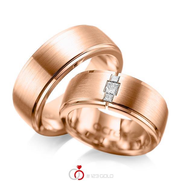 Paar klassische Trauringe/Eheringe in aussen Rotgold 585 , innen Rotgold 585 mit zus. 0,21 ct. Prinzess-Diamant tw, si von acredo - A-1087-8
