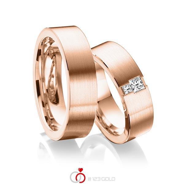 Paar klassische Trauringe/Eheringe in aussen Rotgold 585 , innen Rotgold 585 mit zus. 0,2 ct. Prinzess-Diamant tw, si von acredo - A-6014-7