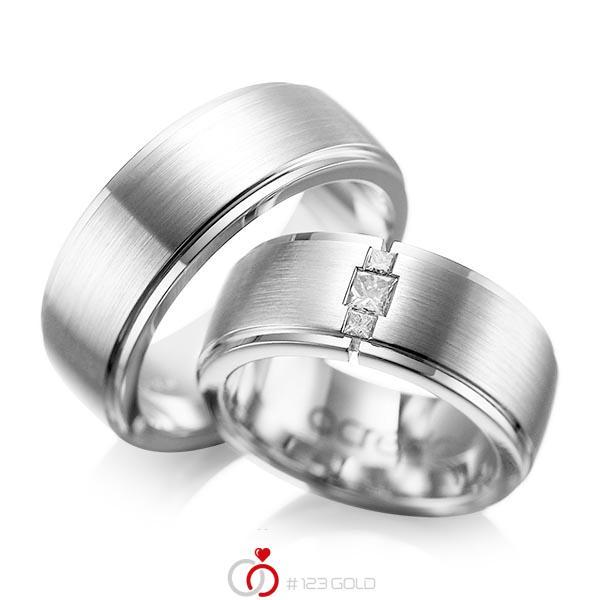 Paar klassische Trauringe/Eheringe in außen Weißgold 585 , innen Weißgold 585 mit zus. 0,21 ct. Prinzess-Diamant tw, si von acredo - A-1087-7