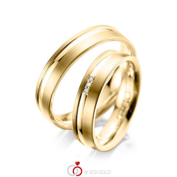Paar klassische Trauringe/Eheringe in Gelbgold 585 mit zus. 0,015 ct. Brillant tw, si von acredo - A-1039-5