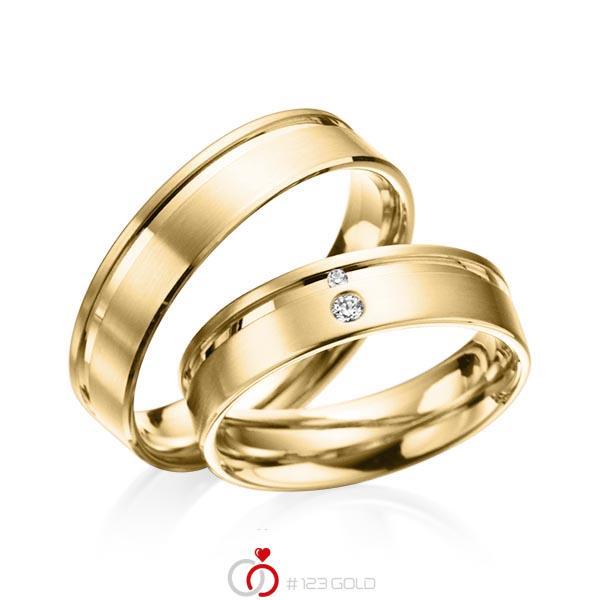 Paar klassische Trauringe/Eheringe in Gelbgold 585 mit zus. 0,038 ct. Brillant tw, si von acredo - A-3013-4