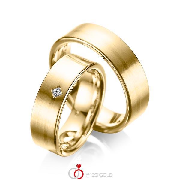 Paar klassische Trauringe/Eheringe in Gelbgold 585 mit zus. 0,03 ct. Prinzess-Diamant tw, si von acredo - A-1060-4