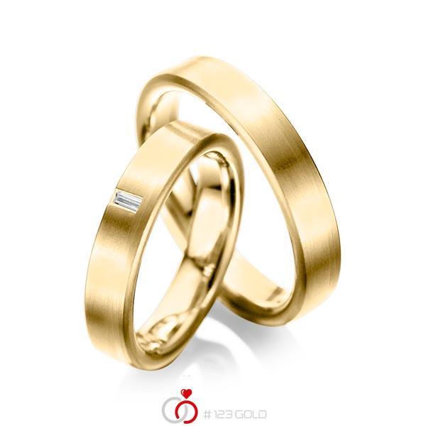 Paar klassische Trauringe/Eheringe in Gelbgold 585 mit zus. 0,05 ct. Baguette-Diamant tw, vs von acredo - A-1022-9