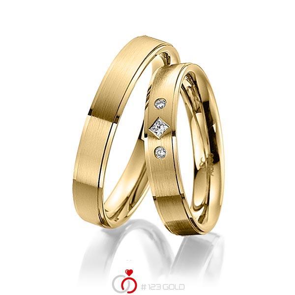 Paar klassische Trauringe/Eheringe in Gelbgold 585 mit zus. 0,05 ct. Prinzess-Diamant & Brillant tw, si von acredo - A-4004-4