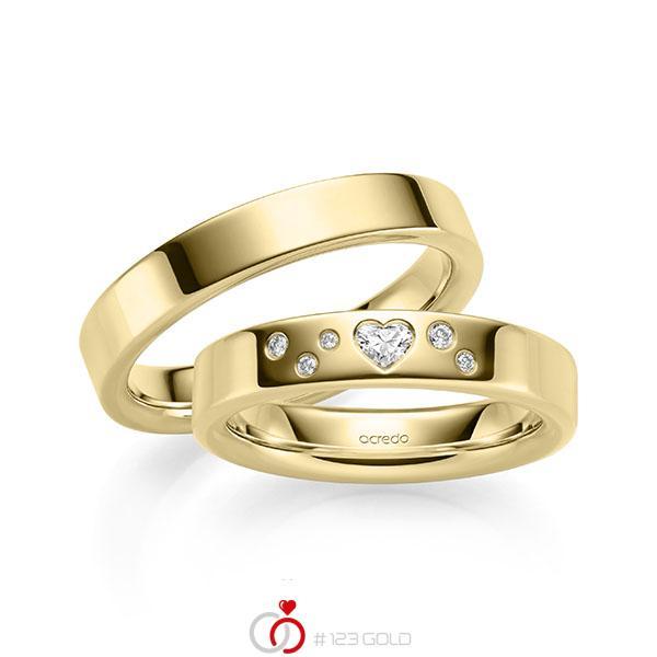 Paar klassische Trauringe/Eheringe in Gelbgold 585 mit zus. 0,146 ct. Brillant & Herz-Diamant tw, si tw, vs von acredo - A-2135-1