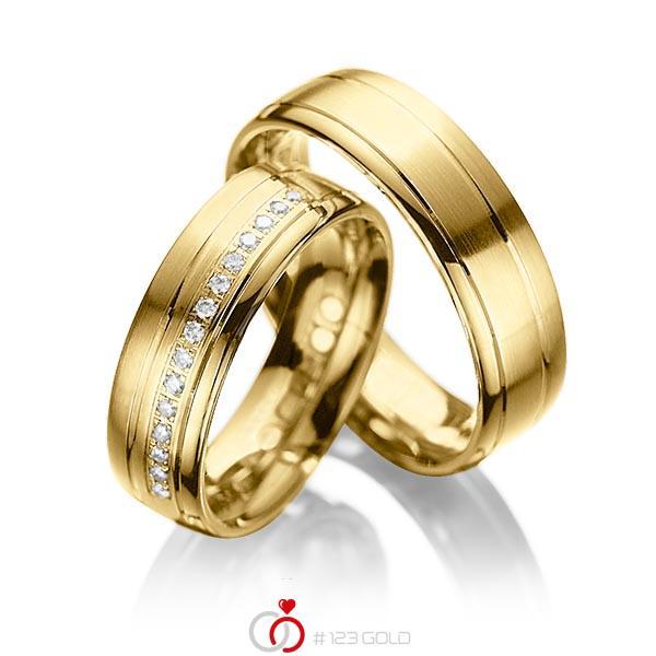 Paar klassische Trauringe/Eheringe in Gelbgold 585 mit zus. 0,15 ct. Brillant tw, si von acredo - A-1034-4