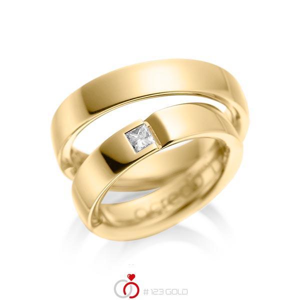 Paar klassische Trauringe/Eheringe in Gelbgold 585 mit zus. 0,15 ct. Prinzess-Diamant tw, si von acredo - A-1029-3