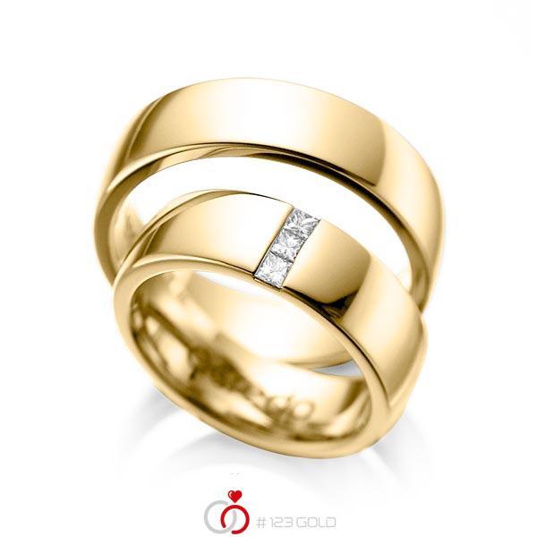Paar klassische Trauringe/Eheringe in Gelbgold 585 mit zus. 0,15 ct. Prinzess-Diamant tw, si von acredo - A-1056-3