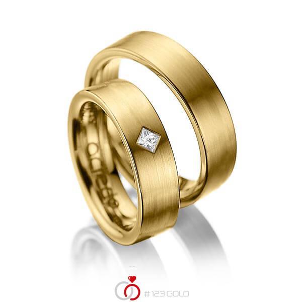 Paar klassische Trauringe/Eheringe in Gelbgold 585 mit zus. 0,1 ct. Prinzess-Diamant tw, si von acredo - A-1020-4