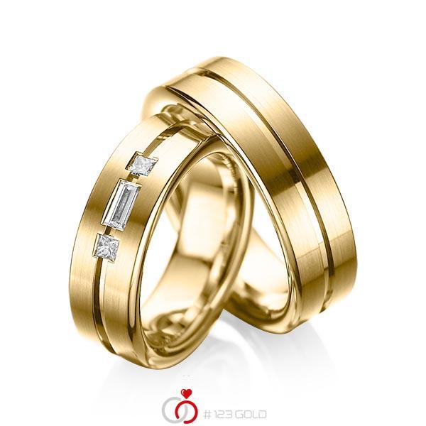 Paar klassische Trauringe/Eheringe in Gelbgold 585 mit zus. 0,22 ct. Baguette-Diamant & Prinzess-Diamant tw, vs von acredo - A-1011-4