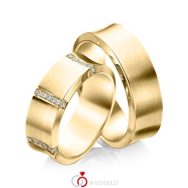 Paar klassische Trauringe/Eheringe in Gelbgold 585 mit zus. 0,336 ct. Brillant tw, si von acredo - A-1096-1