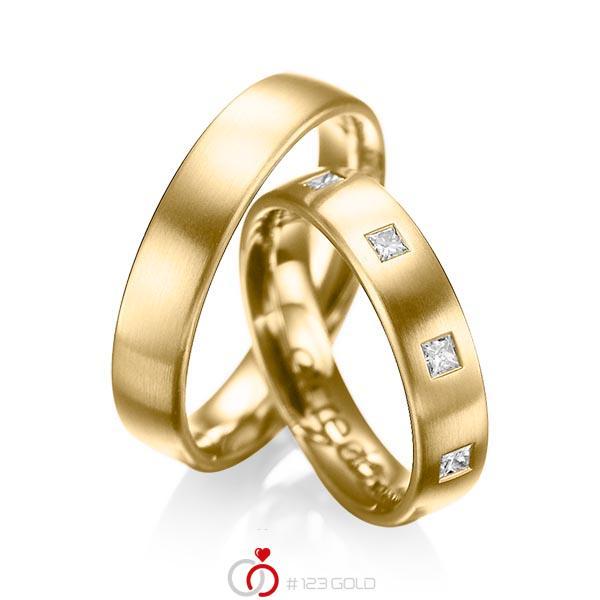 Paar klassische Trauringe/Eheringe in Gelbgold 585 mit zus. 0,45 ct. Prinzess-Diamant tw, si von acredo - A-1004-1