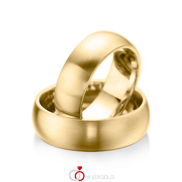 Paar klassische Trauringe/Eheringe in Gelbgold 585 von acredo - A-1076-1