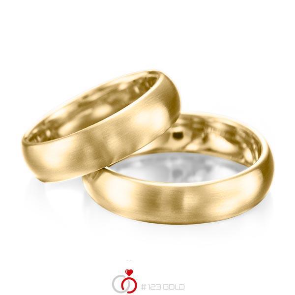 Paar klassische Trauringe/Eheringe in Gelbgold 585 von acredo - A-1077-1
