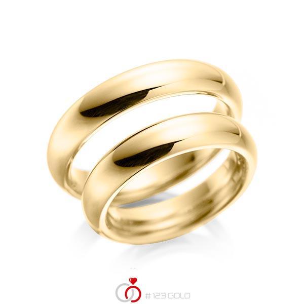 Paar klassische Trauringe/Eheringe in Gelbgold 585 von acredo - A-1079-1