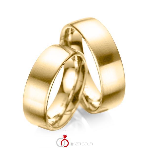 Paar klassische Trauringe/Eheringe in Gelbgold 585 von acredo - A-1083-5