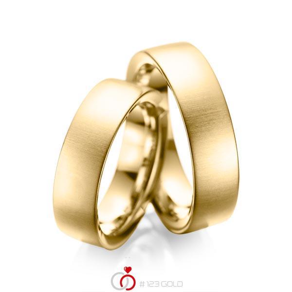 Paar klassische Trauringe/Eheringe in Gelbgold 585 von acredo - A-1084-1