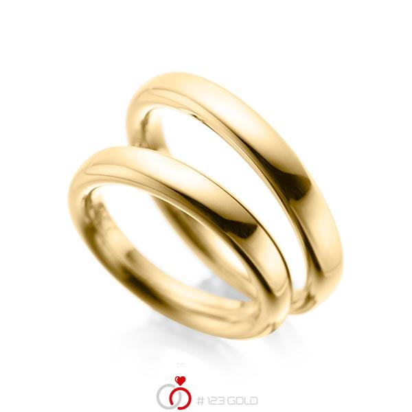 Paar klassische Trauringe/Eheringe in Gelbgold 585 von acredo - A-1085-1