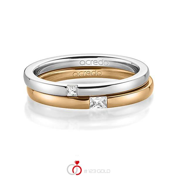 Paar klassische Trauringe/Eheringe in Graugold 585 mit zus. 0,1 ct. Prinzess-Diamant & Baguette-Diamant tw, si tw, vs von acredo - A-1395-10