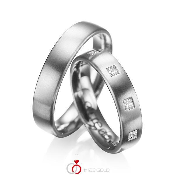 Paar klassische Trauringe/Eheringe in Graugold 585 mit zus. 0,45 ct. Prinzess-Diamant tw, si von acredo - A-1004-4