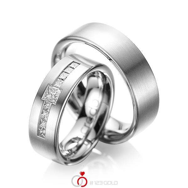 Paar klassische Trauringe/Eheringe in Graugold 585 mit zus. 0,52 ct. Prinzess-Diamant tw, si von acredo - A-1050-4