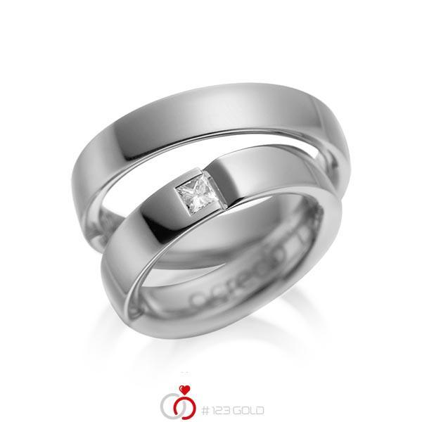 Paar klassische Trauringe/Eheringe in Graugold dunkel 585 mit zus. 0,15 ct. Prinzess-Diamant tw, si von acredo - A-1029-2